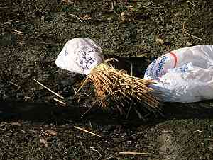 A bagged sample is sent to the ground