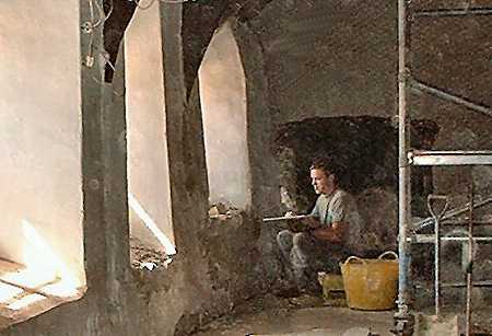 Plastering - an almost medieval scene