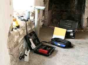 Equipment laid out on the Church House floor