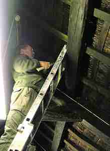 John Letts up ladder with torch finding suitable sample site